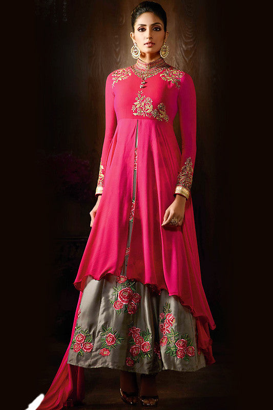 Indi Fashion Magenta Olive Green and Gold Georgette Party Wear Anarkali Suit