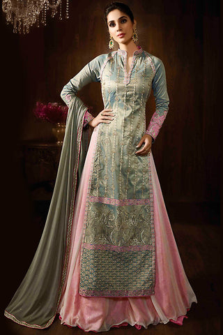 Indi Fashion Olive Green Ombre and Baby Pink Raw Silk Party Wear Anarkali Suit