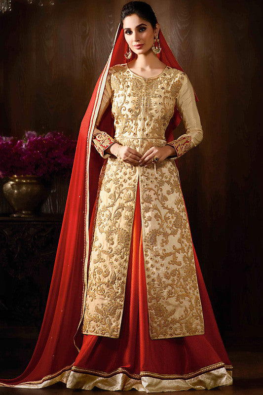 Buy Off White Red and Gold Raw Silk Party Wear Anarkali Suit Online at indi.fashion