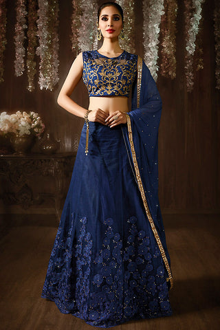 Indi Fashion Blue and Gold Neet and Raw Silk Lehenga Set