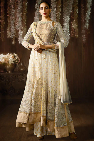 Indi Fashion Beige and Cream Net Anarkali Suit
