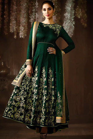 Indi Fashion Bottle Green and Gold Raw Silk Anarkali Suit