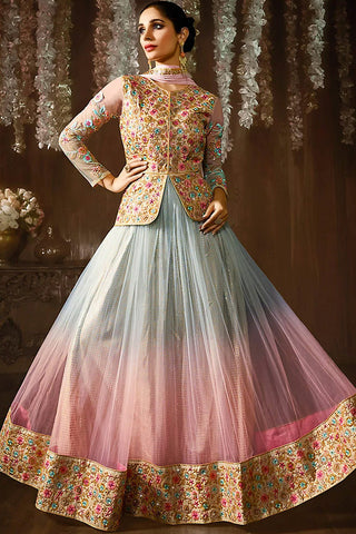 Indi Fashion Light Blue and Baby Pink Ombre Jacket Style Net Lehenga Set