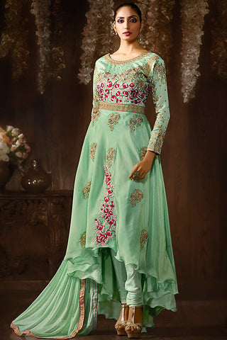Indi Fashion Sea Green and Red Raw Silk asymmetrical Anarkali Suit