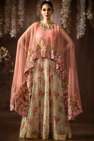 Indi Fashion Onion Pink and Beige Shimmer and Jacquard Anarkali Suit