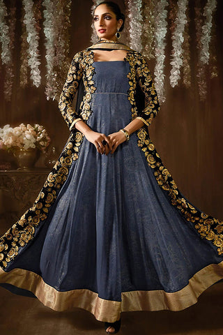 Indi Fashion Gold and Blue Shimmer and Georgette Anarkali Suit