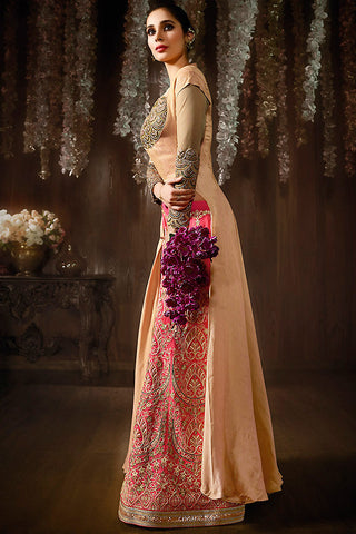 Indi Fashion Peach and Pink Georgette Front Cut Cape Style Lehenga Set