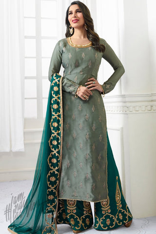 Indi Fashion Light Hunter and Sacramento Green Satin Palazzo Suit