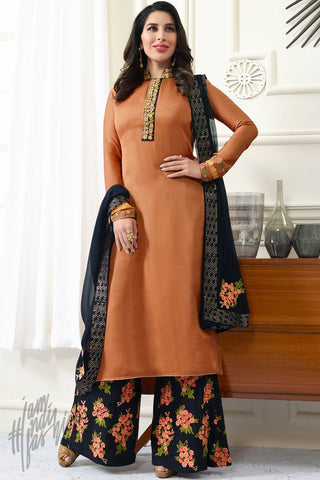 Indi Fashion Bronze Orange and Denim Blue Satin Palazzo Suit