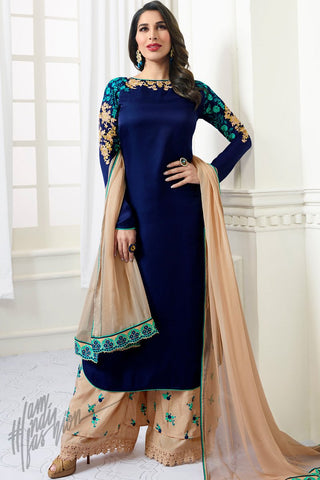 Indi Fashion Navy Blue and Sepia Tan Satin Palazzo Suit