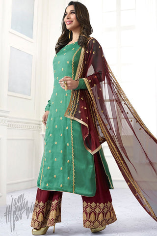 Indi Fashion Sea Green and Wine Satin Palazzo Suit