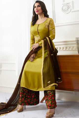 Indi Fashion Corn Yellow and Brown Satin Palazzo Suit