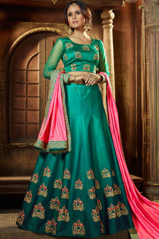 Indi Fashion Shaded Green and Pink Satin Lehenga Set