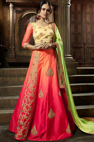 Indi Fashion Shaded Pink Beige and Green Satin Lehenga Set