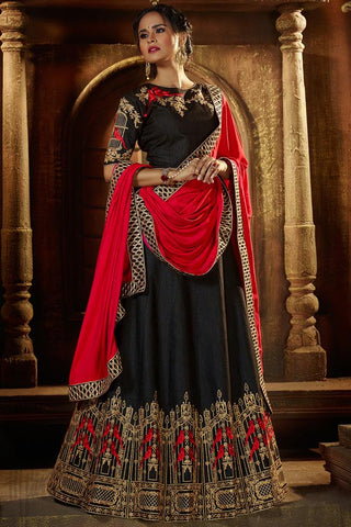 Indi Fashion Slate Gray and Red Raw Silk Lehenga Set