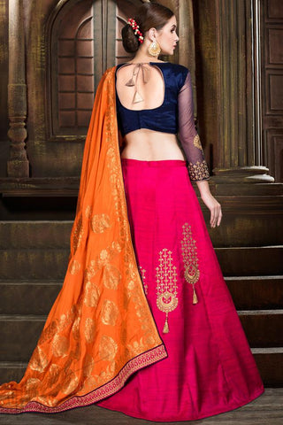 Indi Fashion Navy Blue Magenta and Orange Raw Silk Lehenga Set