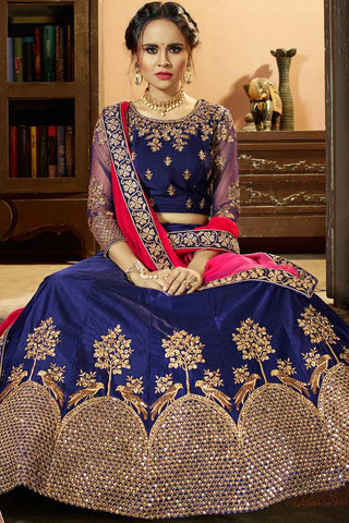 Indi Fashion Navy Blue and Pink Shaded Satin Lehenga Set
