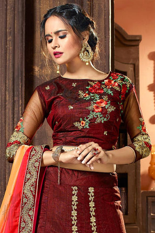 Indi Fashion Wine and Red Shaded Raw Silk Lehenga Set