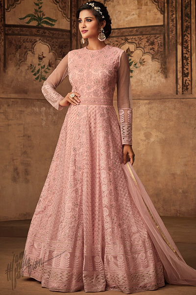Baby Pink Net Party Wear Anarkali Suit