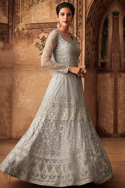 Pearl Silver Net Party Wear Anarkali Suit