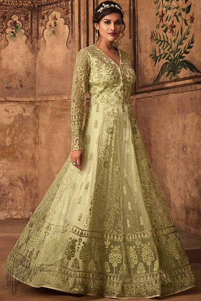 Pastel Green Net Party Wear Anarkali Suit