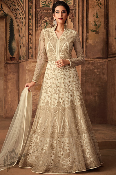 Off White Net Party Wear Anarkali Suit