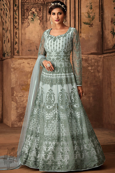 Pale Lily Blue Net Party Wear Anarkali Suit