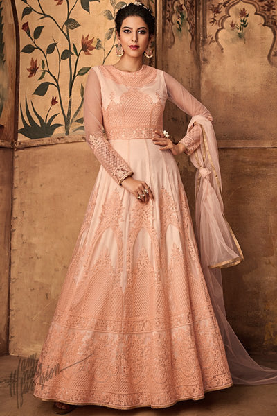 Light Peach Net Party Wear Anarkali Suit