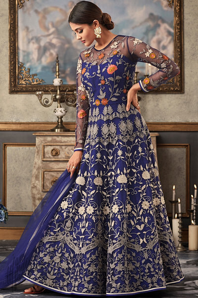 Royal Blue Net and Raw Silk Wedding Anarkali Suit