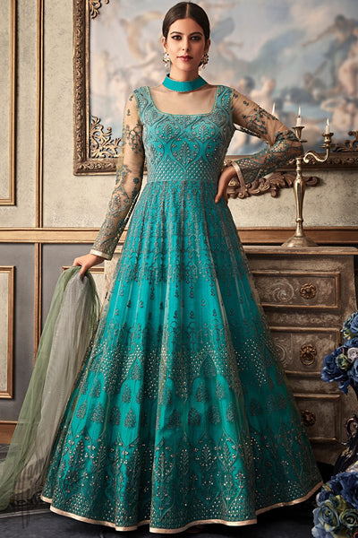 Turquoise Blue Net and Raw Silk Wedding Anarkali Suit