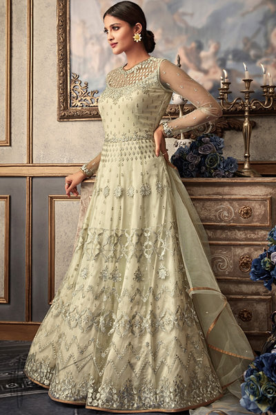 Light Sage Green Net and Raw Silk Wedding Anarkali Suit