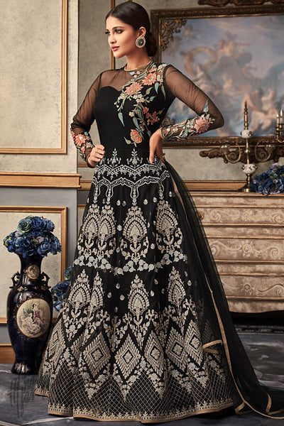 Black Net and Raw Silk Wedding Anarkali Suit