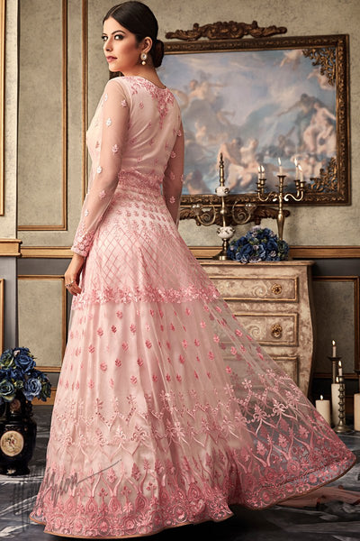 Baby Pink Net and Raw Silk Wedding Anarkali Suit