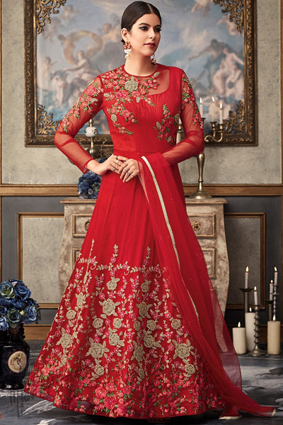Red Net and Raw Silk Wedding Anarkali Suit