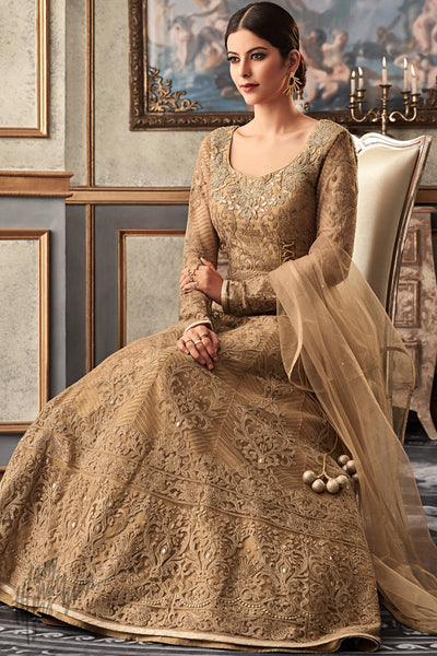 Tortilla Brown Net and Raw Silk Wedding Anarkali Suit
