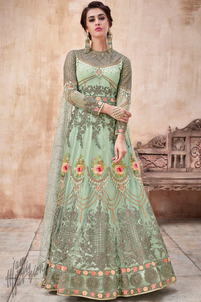 Pastel Green Net and Silk Anarkali Suit