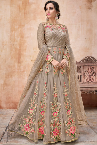 Light Coffee Net and Silk Anarkali Suit