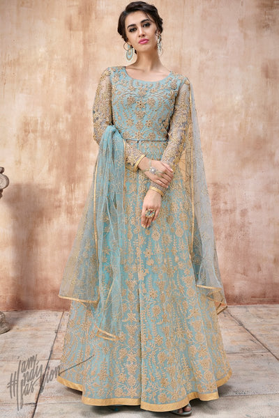 Light Blue Net and Silk Anarkali Suit