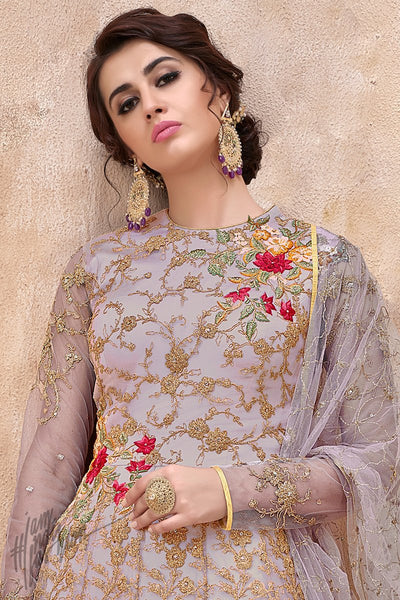 Mauve Net and Silk Anarkali Suit