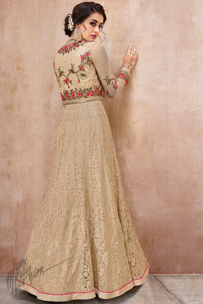Cream Net and Silk Anarkali Suit