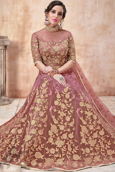Onion Pink Net and Silk Anarkali Suit