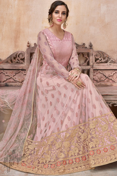 Baby Pink Net and Silk Anarkali Suit