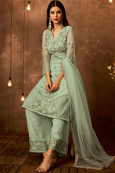 Pastel Green Net Party Wear Palazzo Suit