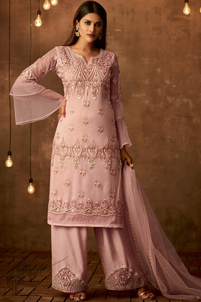 Light Onion Pink Net Party Wear Palazzo Suit