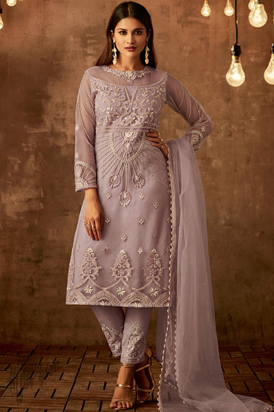Light Mauve Net Party Wear Straight Suit