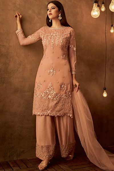 Peach Net Party Wear Palazzo Suit