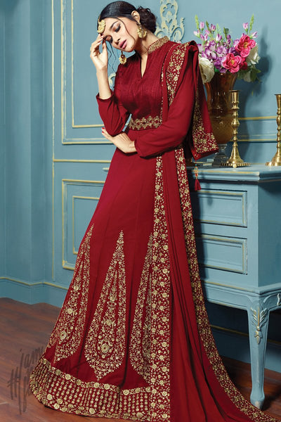 Indi Fashion Maroon Georgette Floor Length Party Wear Suit