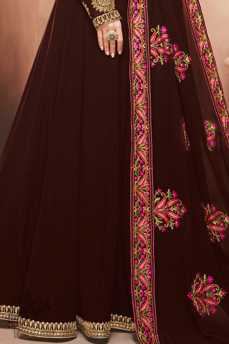 Chocolate Brown Georgette Party Wear Suit with Kashmiri Work Dupatta