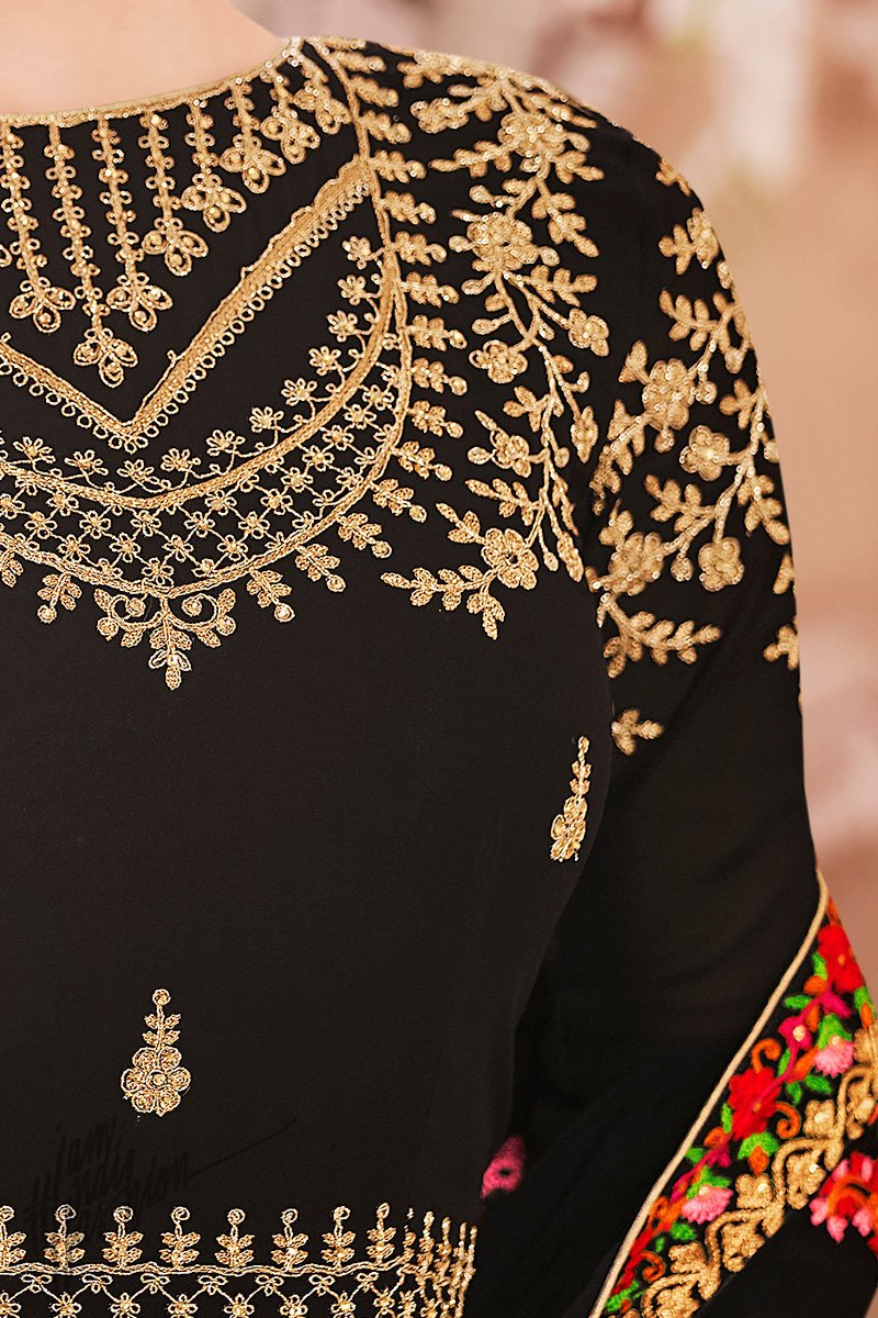 Black Georgette Party Wear Suit with Kashmiri Work Dupatta