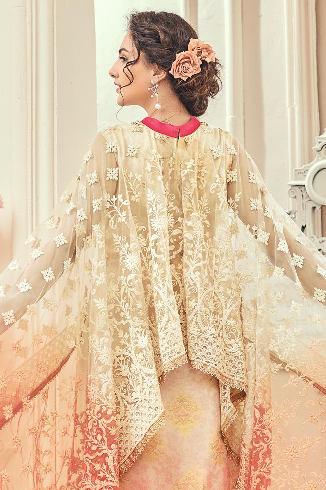 Indi Fashion Beige Georgette Poncho Style Suit